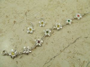Flower Bracelet & Earring Set